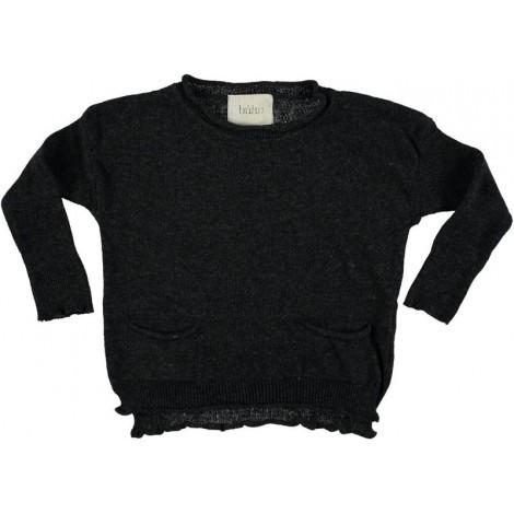 Jersey de punto gris bolsillos LOUISE - Búho
