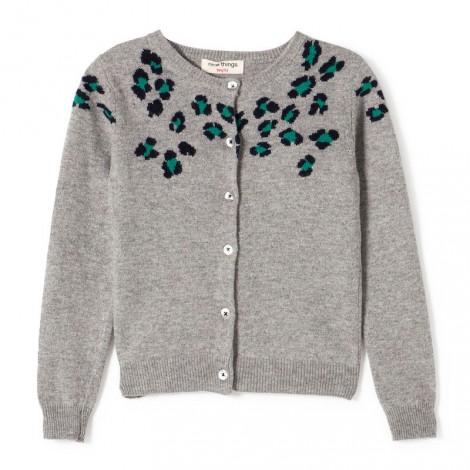 Chaqueta niña JACQUARD LEOPARDO gris - Nice Things