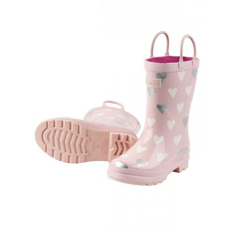 botas agua infantil niña rosa con corazones hatley