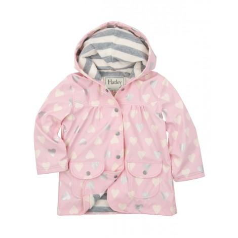 Parka impermeable capucha rosa con corazones - HATLEY