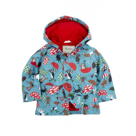 Parka impermeable infantil capucha azul con perros - HATLEY