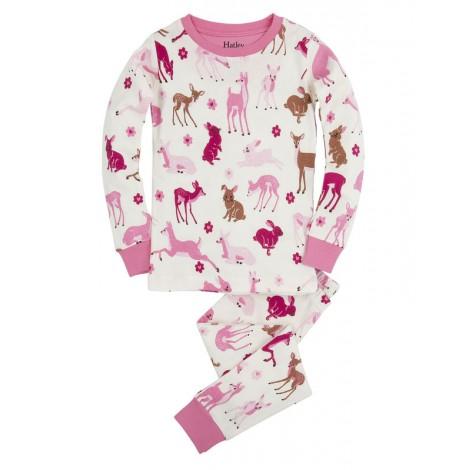 Pijama niña 2 piezas ciervos y conejos rosa - HATLEY