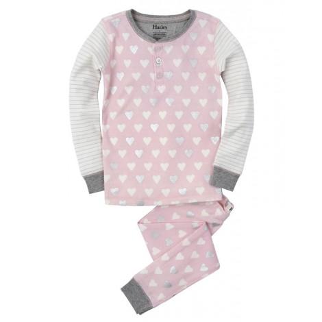 Pijama niña 2 piezas rosa corazones plata - HATLEY