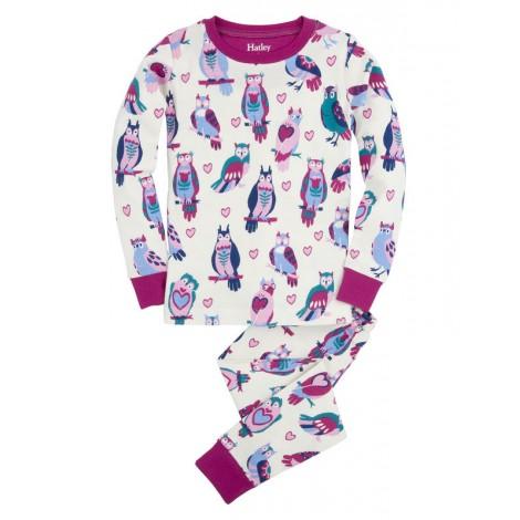 Pijama niña 2 piezas crudo con búhos felices - HATLEY
