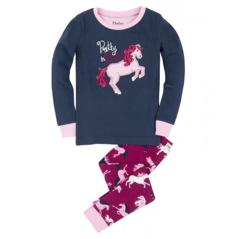pijama niña 2 piezas azul combinado caballos hatley