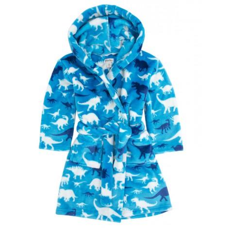 Bata niño suave polar con capucha azul dinos - HATLEY