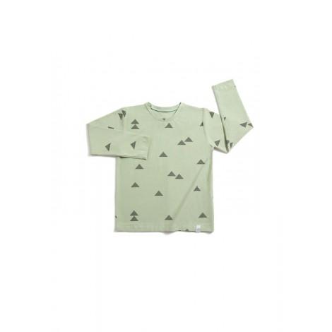 Camiseta infantil manga larga TRIANGULOS VERDE  - LLANA