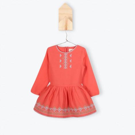 Vestido niña hippie corto JUSTINE color coral - Arsène
