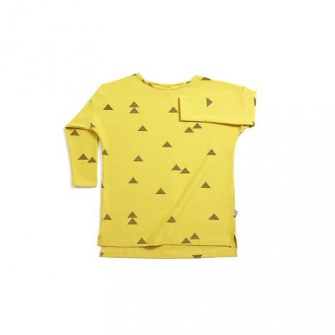 Camiseta niña manga larga TRIANGULOS mostaza - LLANA