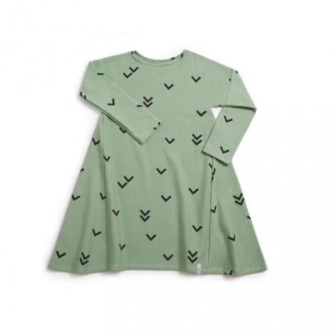 Vestido niña manga larga sin cuello BIRDS verde - LLANA