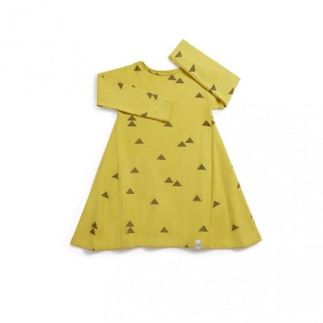 Vestido niña manga larga TRIANGULOS mostaza - LLANA