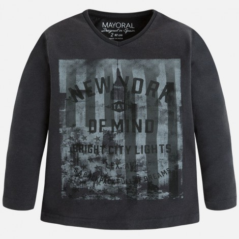 Camiseta m/l new york en Grafito - Mayoral