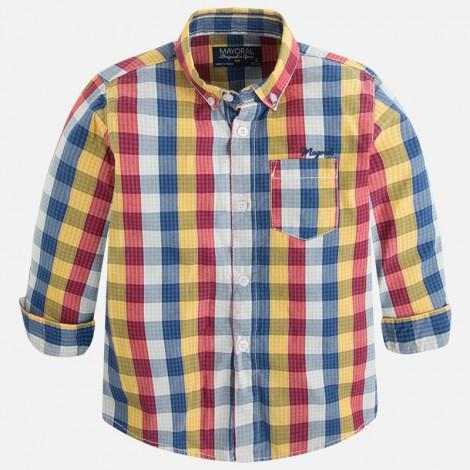 Camisa m/l cuadros en Guinda - Mayoral