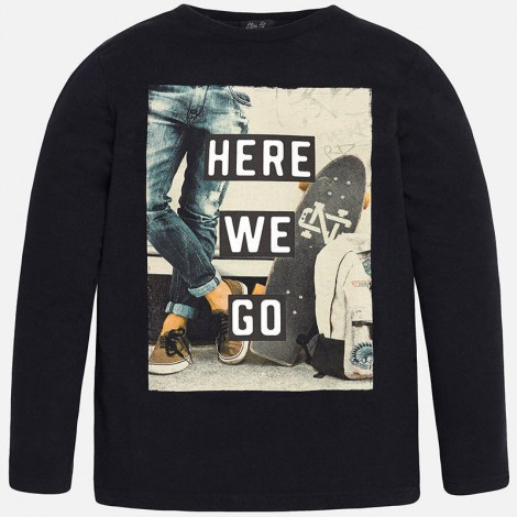 Camiseta m/l here we go en Negro - Mayoral