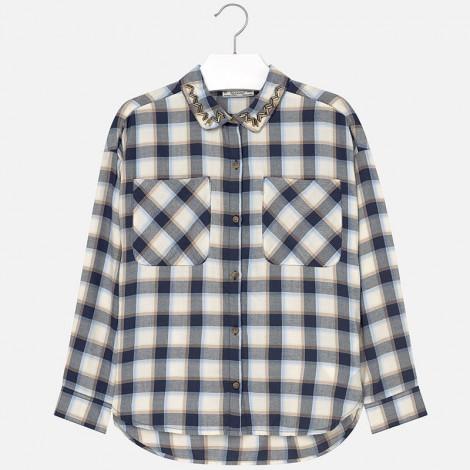 Blusa cuadros bolsillos en Marino - Mayoral