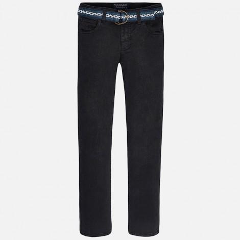 pantalon delavado con cinturo en negro mayoral