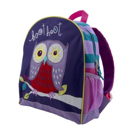 mochila guardería infantil color lila y búho de hatley