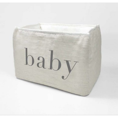 Cesta para pañales en lino crudo de Babyshower