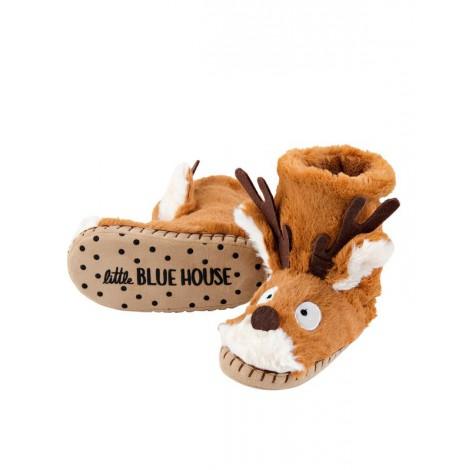 Bota peluda ir por casa - cara de reno marron - Hatley