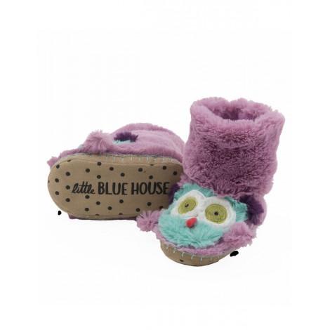 Bota peluda ir por casa - cara de búho lila - Hatley