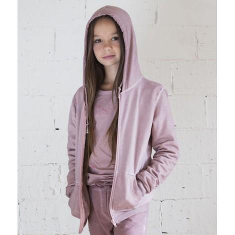 sudadera niña cremallera more tintado frio color rosa
