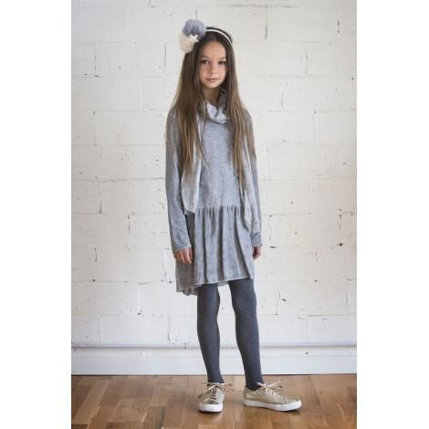 Vestido gris manga larga punto algodón y tul estrellas
