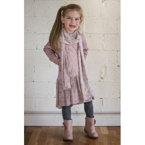 Vestido rosa manga larga punto algodón y tul estrellas