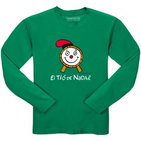 Camiseta infantil TIÓ de Navidad manga larga en verde