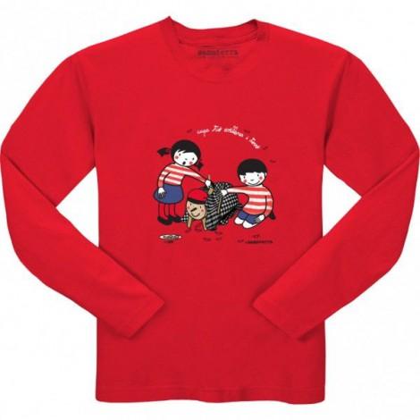 Camiseta infantil CAGA TIÓ manga larga en rojo