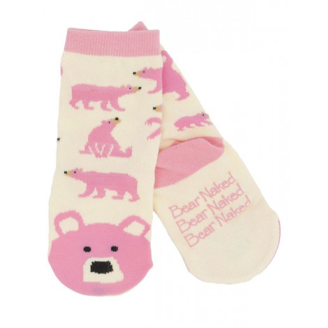 Calcetín infantil antideslizante OSO ROSA animal socks