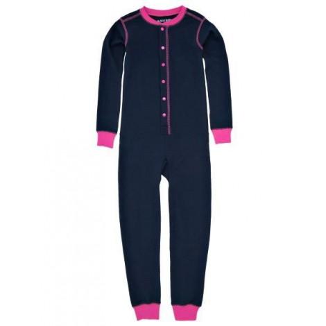 """Pijama niña tipo mono manga larga marino y rosa """"OESTE"""""""