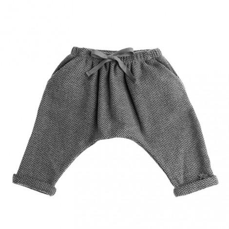 pantalón vintage bebé gris tejido espiga