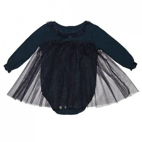 Body bebé vintage azul con tul fantasía de niña