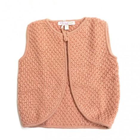 rebeca de lana lurex cesar color coral y oro