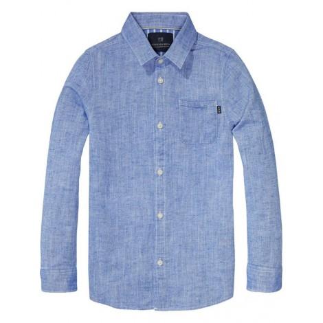 Camisa Oxford para niño en azul con bolsillo
