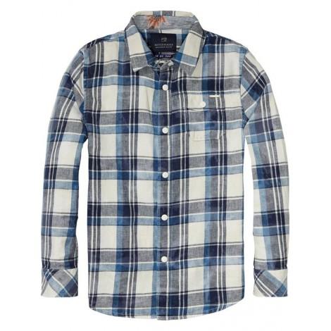 Camisa cuadros CHECKED lino-algodón manga larga
