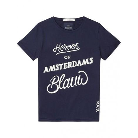 Camiseta niño HEROES manga corta azul