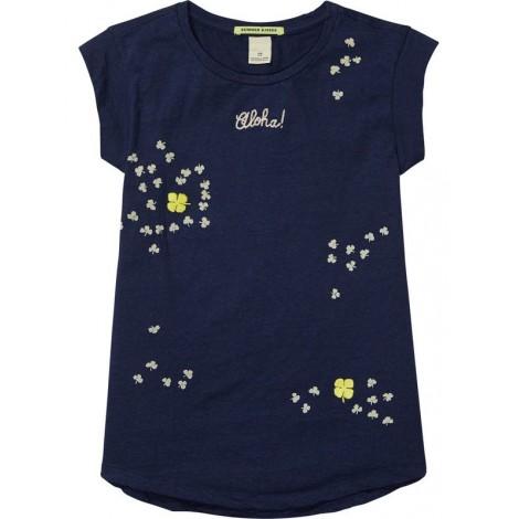Camiseta niña de corte A en navy