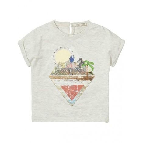 Camiseta niña gris estampado TROPIC ISLAND