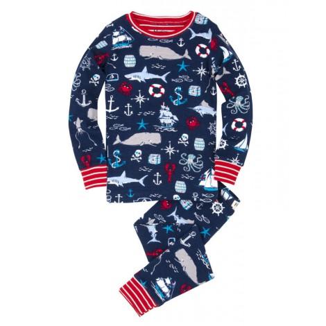Pijama niño azul BALLENAS 2 piezas m/l algodón orgánico