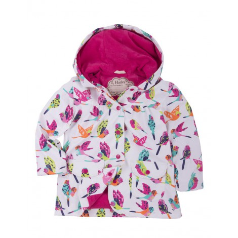 Parka impermeable niña capucha blanca TROPICAL BIRDS
