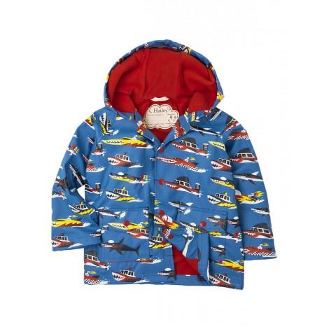 Parka impermeable niño MONSTER BOATS azul con capucha