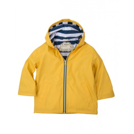 Parka impermeable niño amarillo con capucha