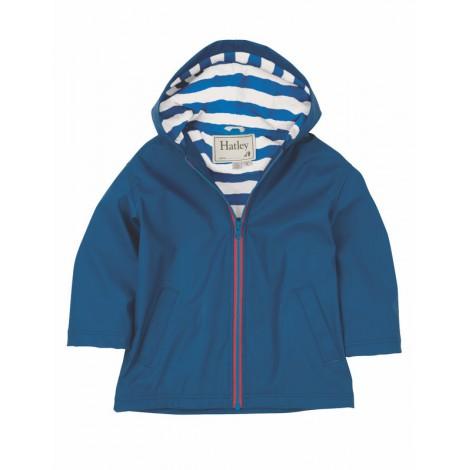 Parka impermeable niño azul con capucha