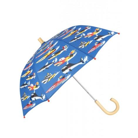 Paraguas infantil azul con MONSTER BOATS