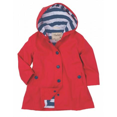 Parka impermeable roja con capucha