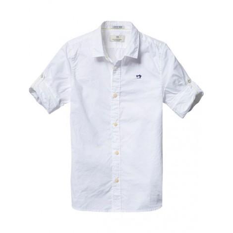 Camisa básica niño blanca con presilla en mangas