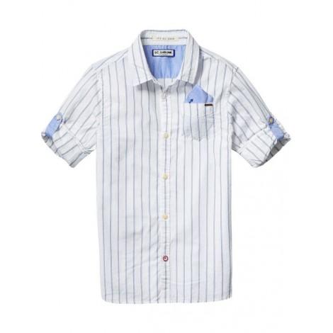 Camisa niño blanca raya azul con bolsillo y presilla