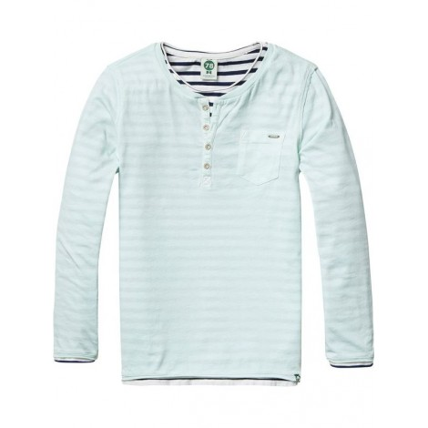 Camiseta niño m/l 2x1 cuello granddad verde agua rayas