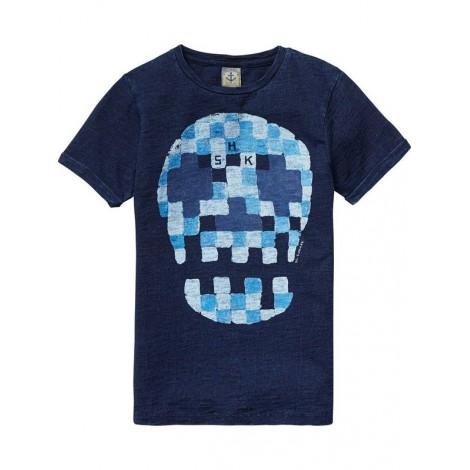 Camiseta niño m/c azul con motivo gráfico de acuarela